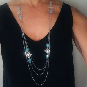 Jewelry - Beautiful long silver necklace with blue stones